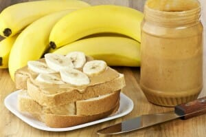 Peanut butter and banana sandwich - a protein and potassium rich breakfast or snack!